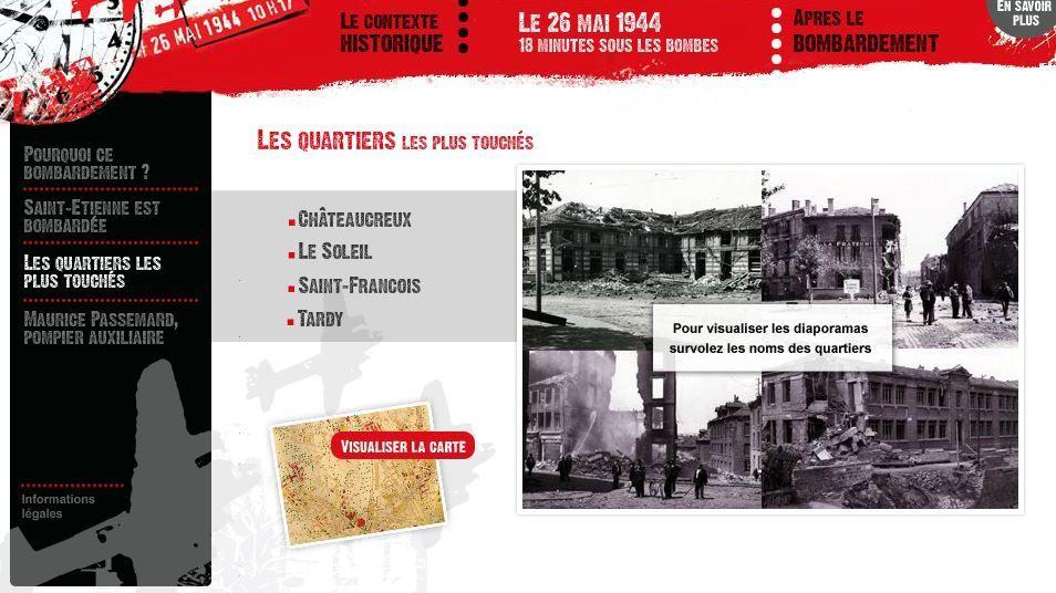 Découvrez le bombardement de Saint-Etienne grâce à cette animation de très grande qualité proposée par les archives municipales de Saint-Etienne (lien ci-dessous)