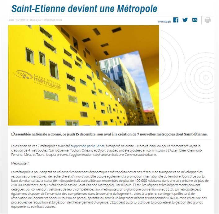 L'évolution de Saint-Etienne en Métropole pour 2018 ?