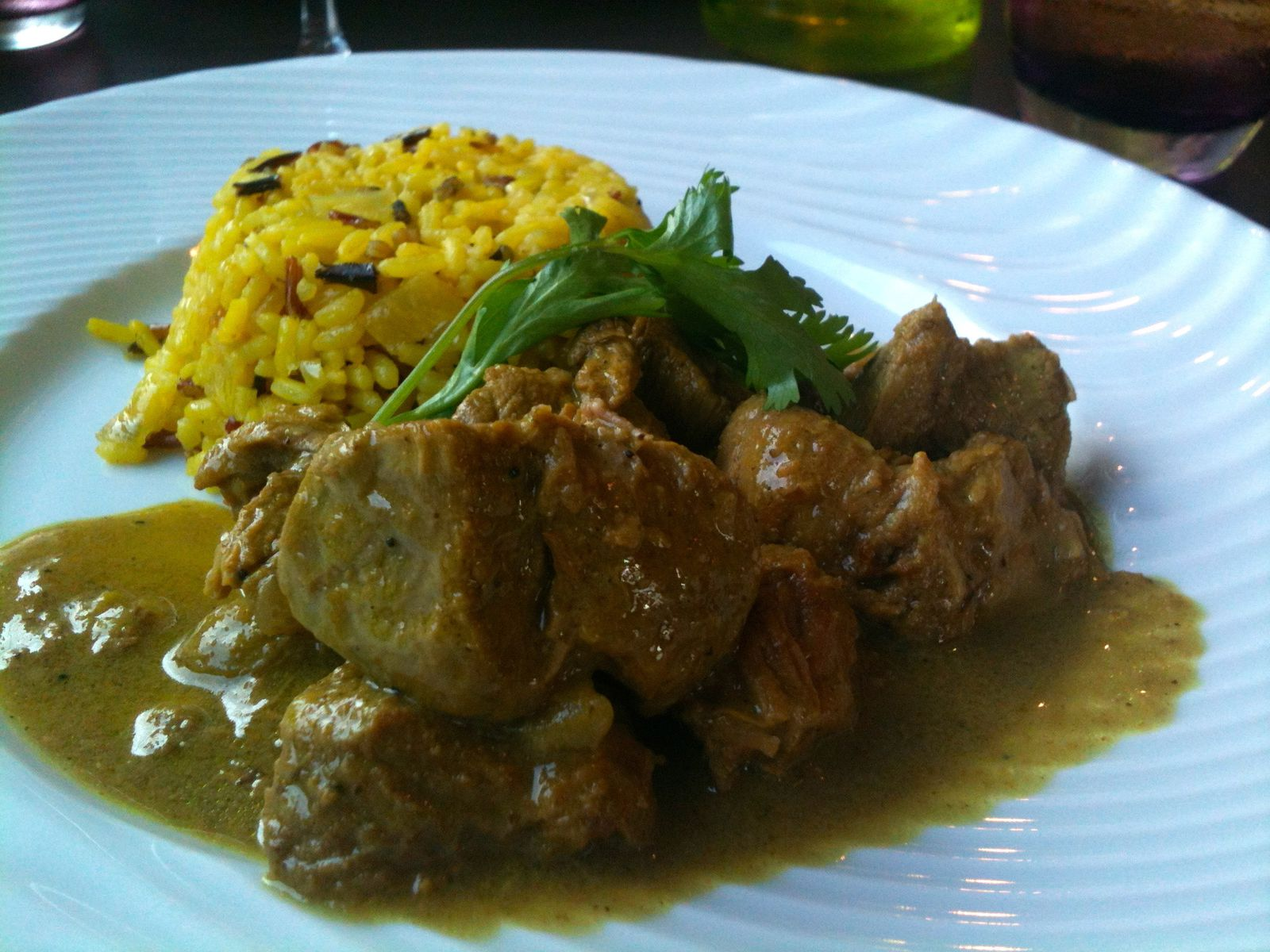 Curry d'agneau, riz madras
