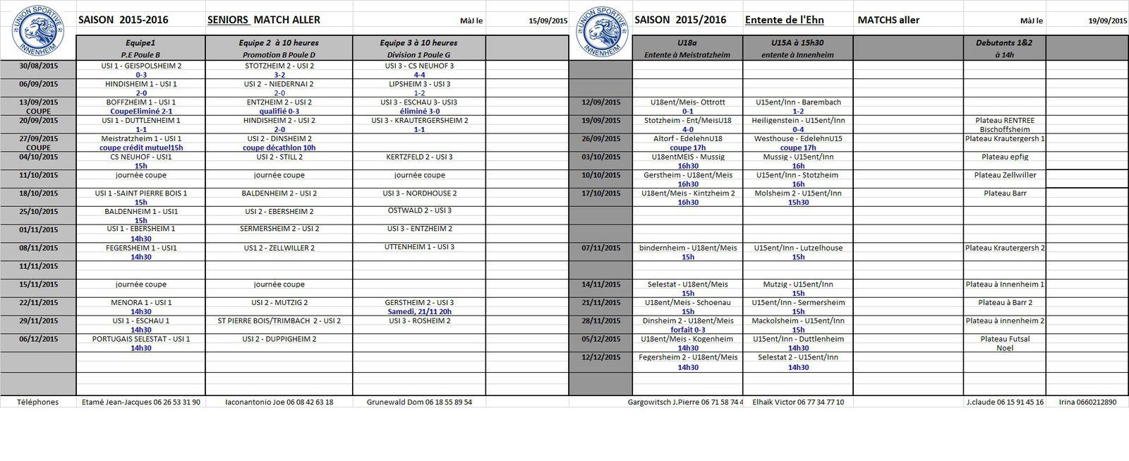 Programme du club : matchs aller