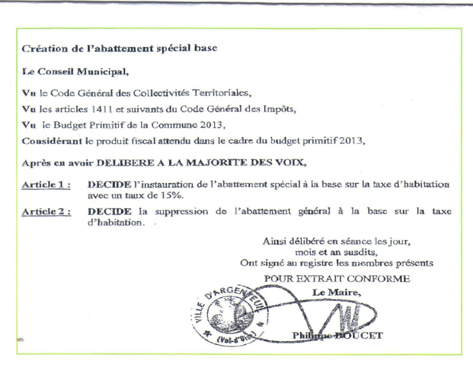 Extrait du compte rendu du Conseil Municipal du 1er février 2013