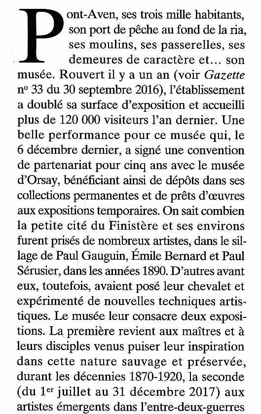 """Extrait de la Gazette Drouot du 7 avril 2017  """"Le musée de Pont-Aven"""""""