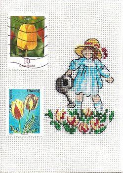 mon ATC timbrée &quot&#x3B;fillette aux tulipes&quot&#x3B;