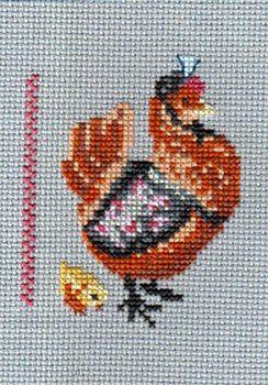 """Evelyne avait choisi le thème """"oiseau de basse-cour"""". C'est Anne qui a brodé pour elle."""