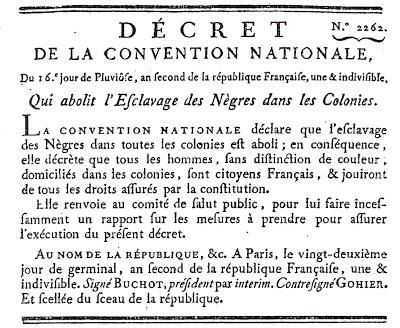4 février 1794:   Décret de l'abolition de l'Esclavage