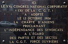 13 octobre 1906 :     Adoption de la Charte d'Amiens