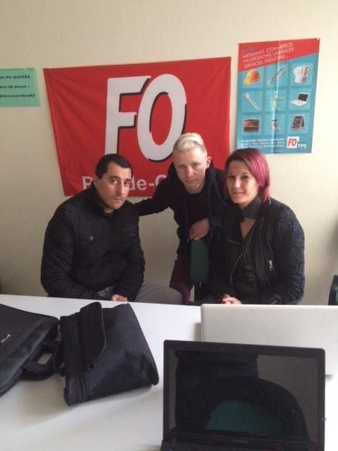 L'équipe FB avec Jean Baptiste, SEC GEN UD FO du 62, F. Lecigne sec gen du syndicat FO régional NPDC, et en compagnie de C. Boulay, DSC FO Erteco France