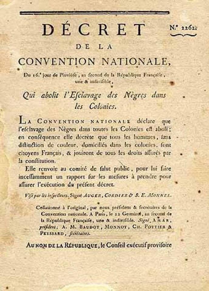 4 février 1794   Décret de l'abolition de l'Esclavage