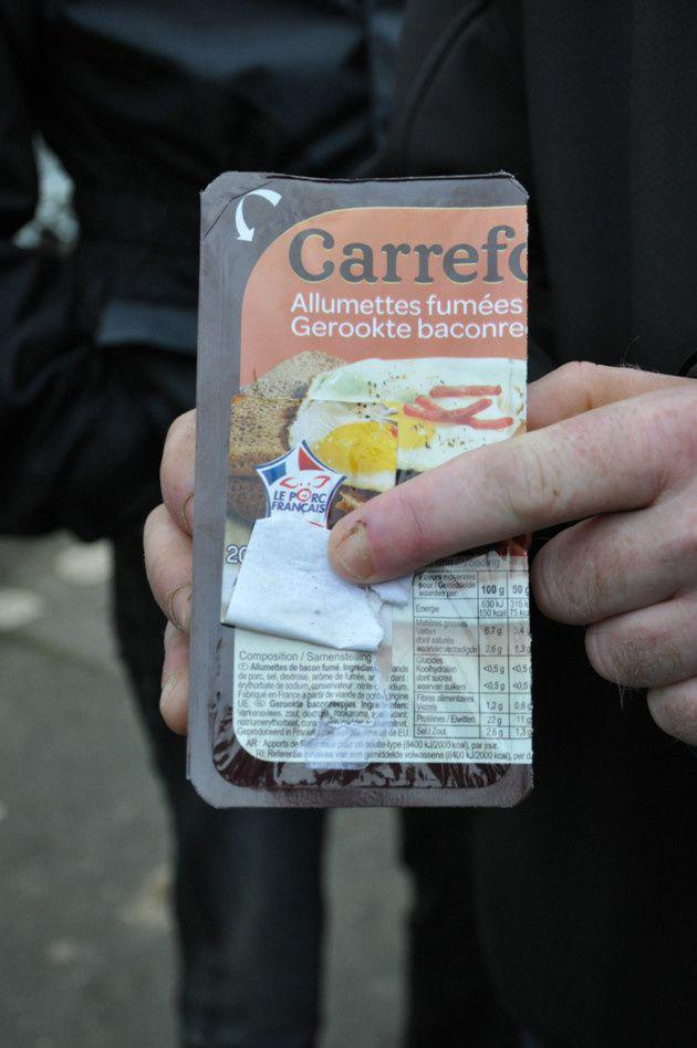 Etiquettes lardons chez Carrefour