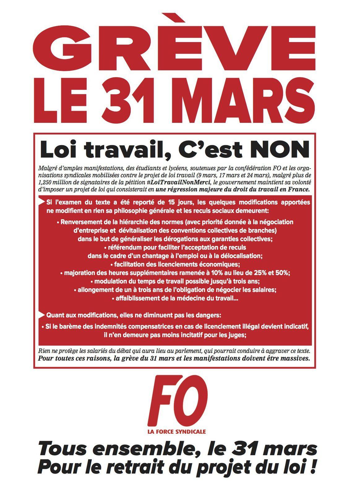 Retrait du projet de loi Travail : tous sur le pont les 24 et 31 mars !