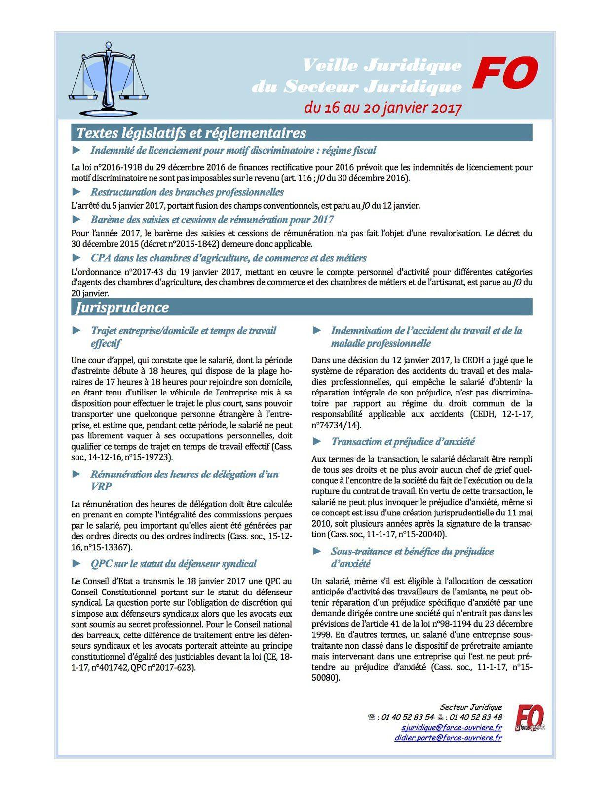 Documents joints  Veille Juridique du 16 au 20 janvier 2017 21 JANVIER PDF858.8 KO