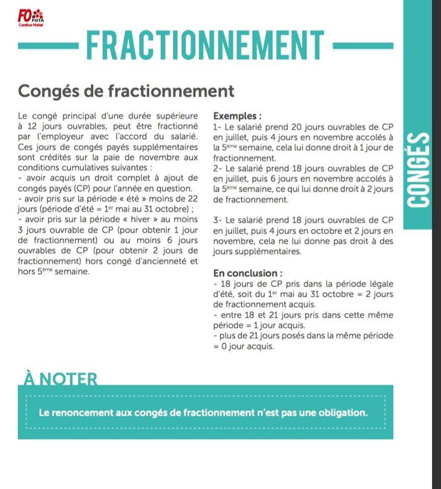 Le congé de fractionnement, CQFS