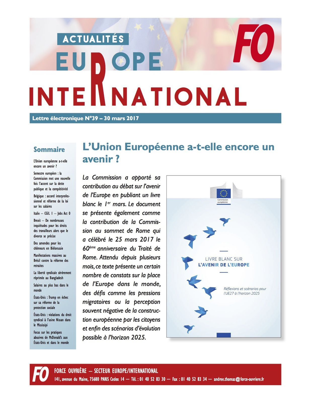 FO  SECTEUR EUROPE - INTERNATIONAL