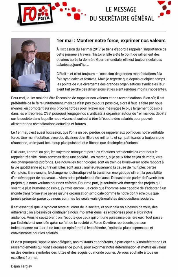 La déclaration de D. Terglav, Sec Gen de la FGTA FO