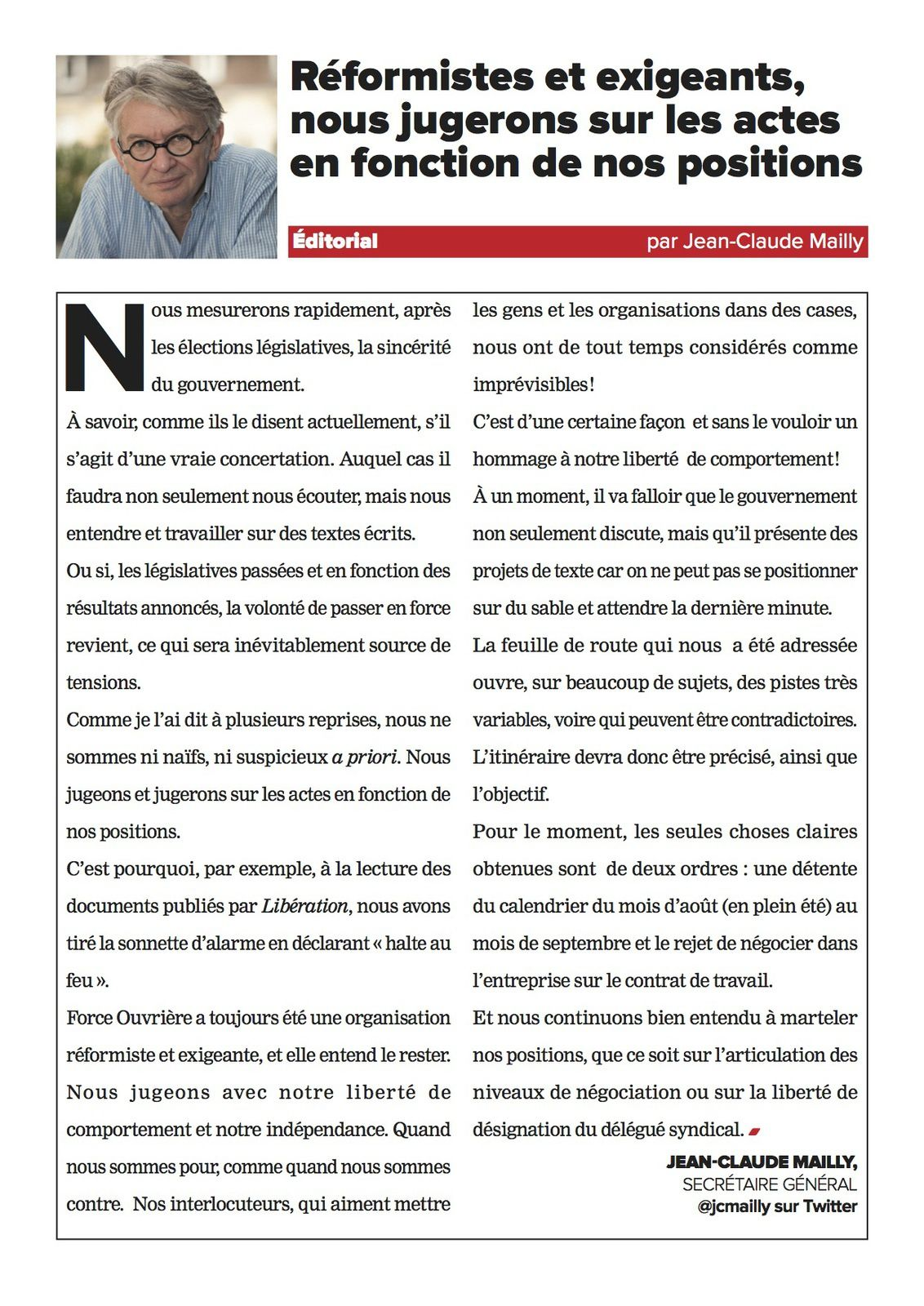 Documents joints  Editorial de Jean-Claude Mailly - FO Hebdo 3245