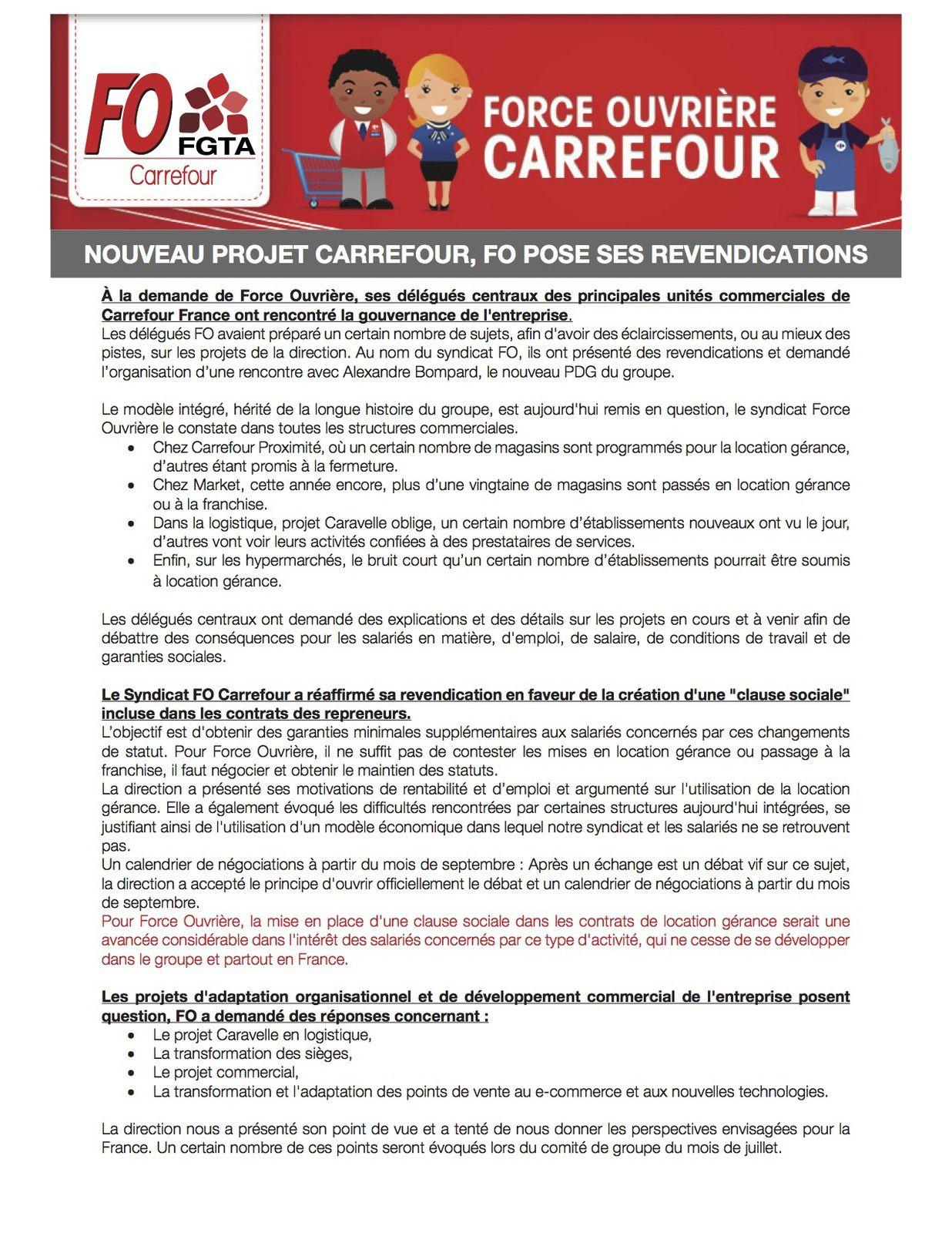 Carrefour, FO a présenté ses revendications à la Direction le 16 juin 2017