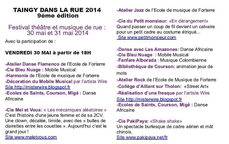 Taingy dans la rue - Rendez-vous à Taingy, les 30 et 31 mai 2014, pour deux jours de théâtre, cirque, musique ! Avec la fanfare colombienne ALBORADA
