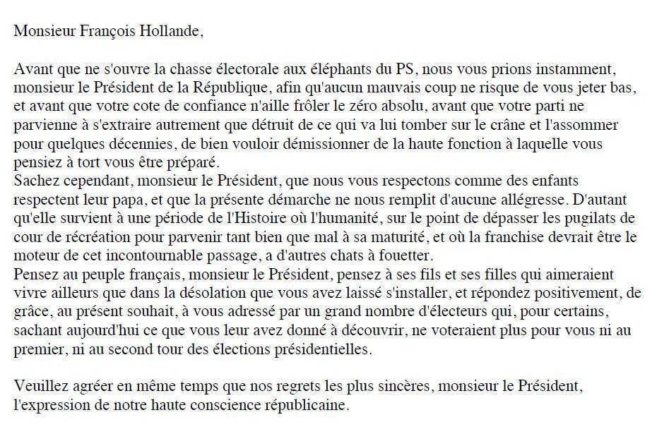 """COURRIER DES LECTEURS - Requête à François Hollande + article pour le  """"Huffington Post"""" - par Michel Cornillon"""