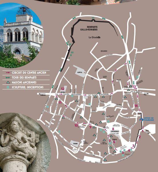 Le plan du centre ville et de la balade