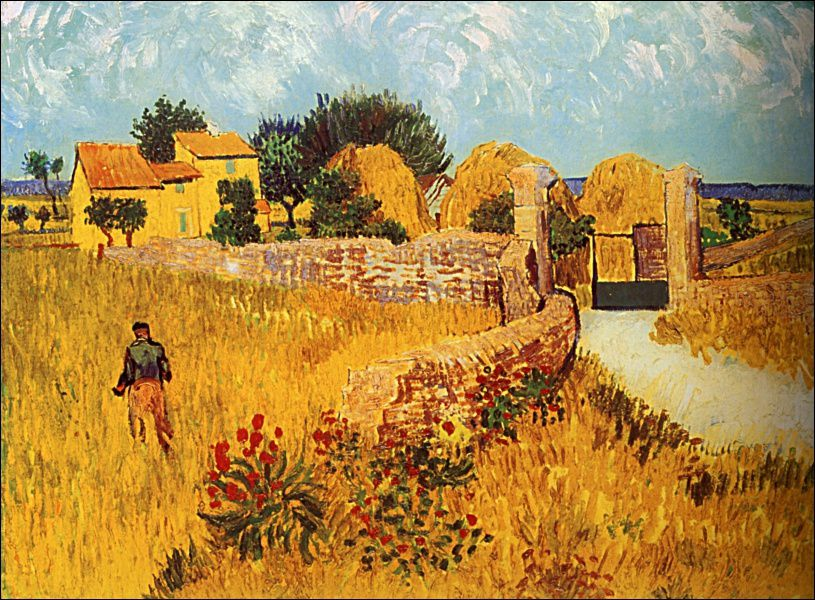 1/La méridienne ou La sieste (1890)  &#x3B;2 / Champ de blé avec gerbes, 1888&#x3B; 3/ Ferme en Provence, 1888 &#x3B;