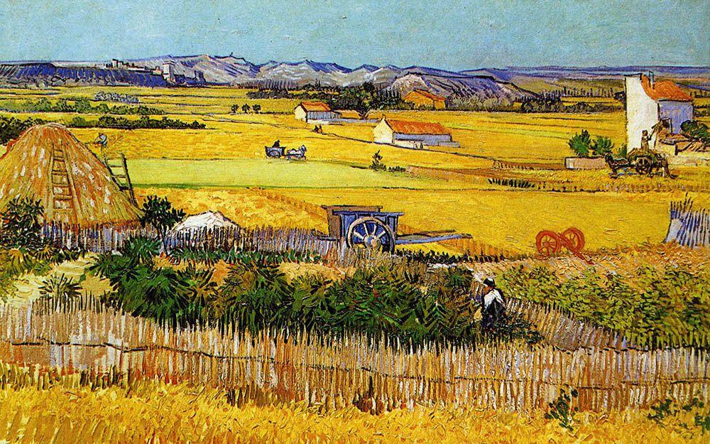 La moisson, 1888 [la plaine de la Crau avec l'Abbaye de Montmajour en fond]