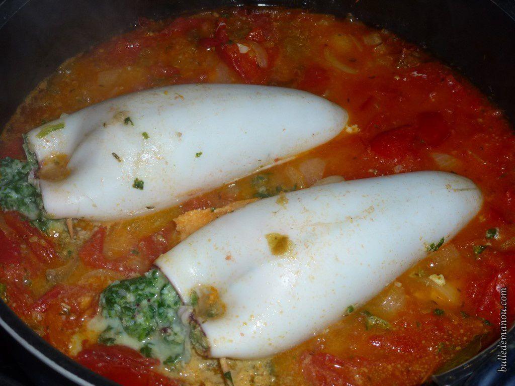La cuisson des encornets farcis