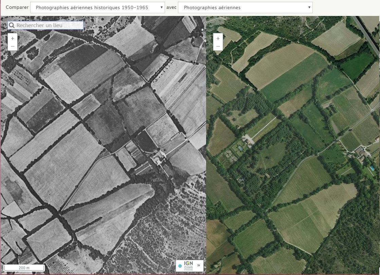 Comparaison de deux photos aériennes, prises à des périodes différentes de l'histoire récente.
