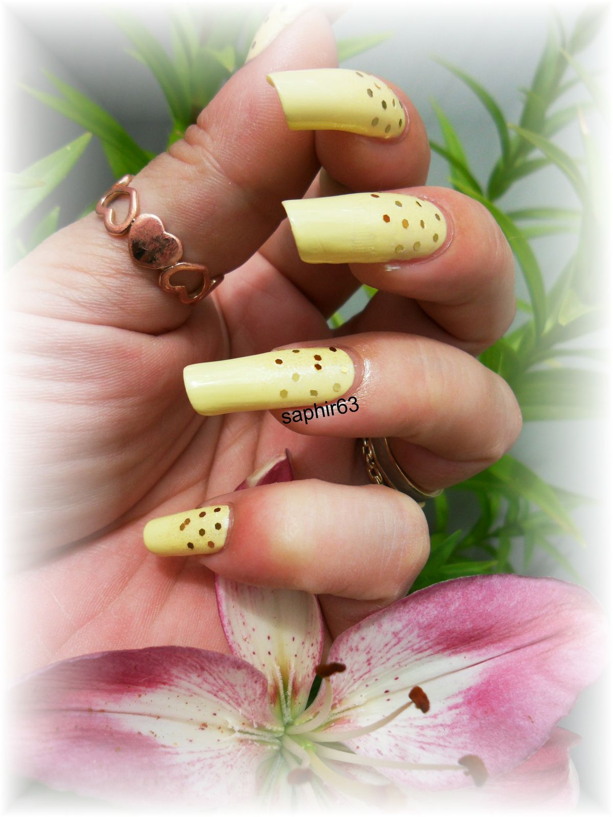 nail art paillettes hexagonales - nails papillons