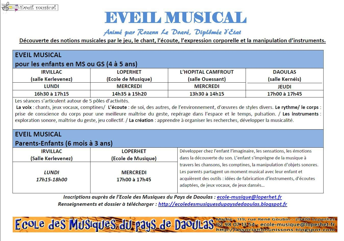 EVEIL MUSICAL PAR L'ECOLE DE MUSIQUE..
