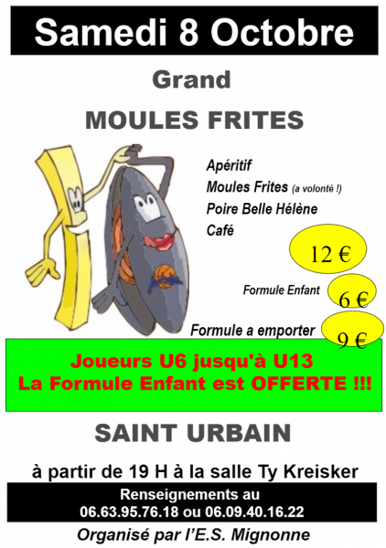 L'Entente Sportive de la Mignonne vous propose son traditionnel Moules-Frites le samedi 8 octobre