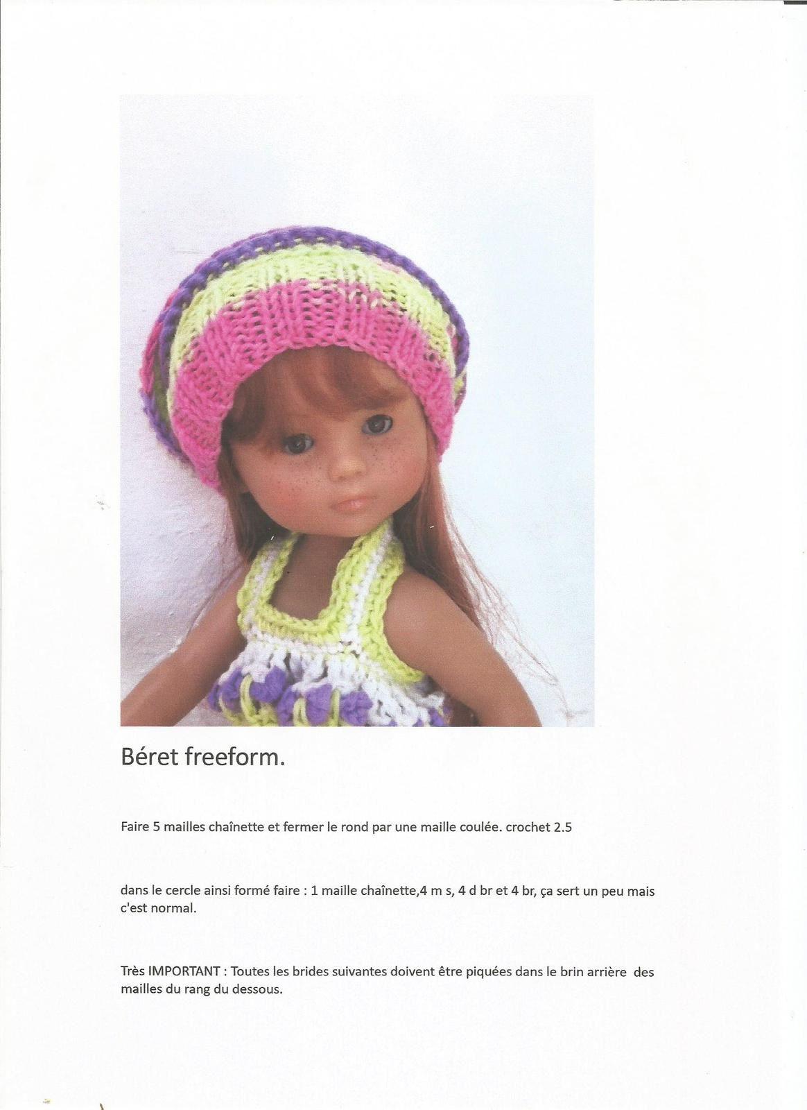 tuto béret freeform pour poupée chéries de corolle