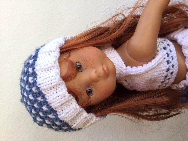 Bonnet pour l'ensemble au point de croix pour poupée chéries de corolle.