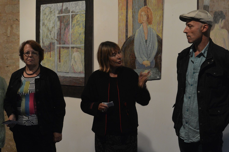 Annie Sedan, Maire d'Excideuil, Conseillère Départementale, Dominique Le Lan-Tallet, Présidente d'Excit'oeil, et Franck Jacquette, lors de  l'ouverture de la soirée au public