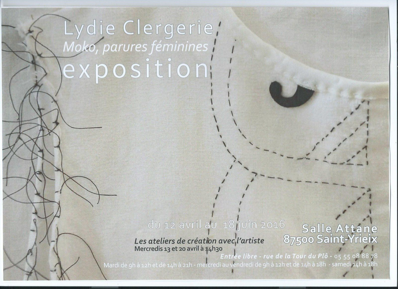 La plasticienne LYDIE CLERGERIE expose, salle Attane, à Saint-Yrieix-la-Perche(87500) du 12 avril au 18 juin 2016