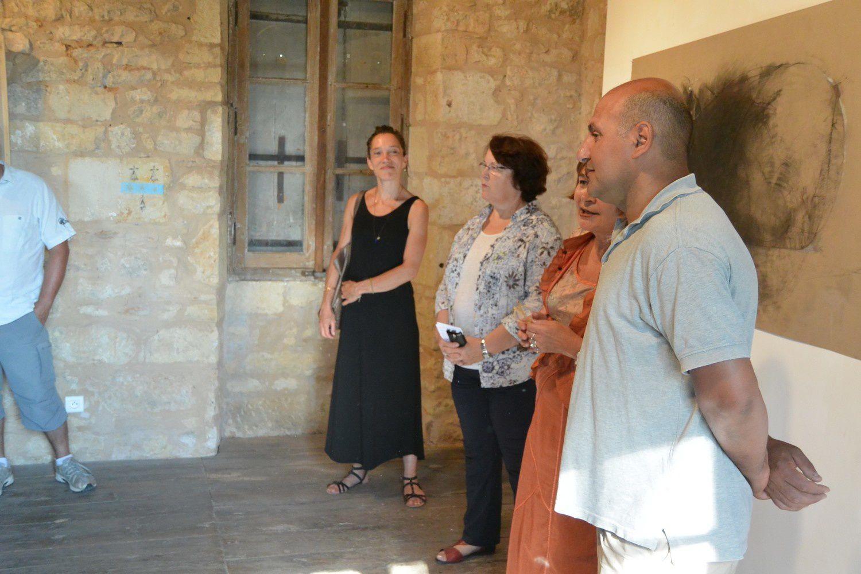 de gauche à droite, Mathilde<Beytout, Agence culturelle départementale, Annie Sezdan, Maire d'Excideuil et Conseillère Dé^partementale, Dominique Le  Lan-Tallet, Présidente d'Excit'oeil,et Monif Ajaj (photo A. V.)