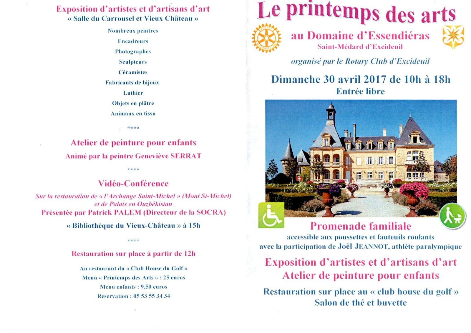 LE PRINTEMPS DES ARTS LE 30 AVRIL 2017 à ESSENDIERAS (24160 SAINT-MEDARD D'EXCIDEUIL)