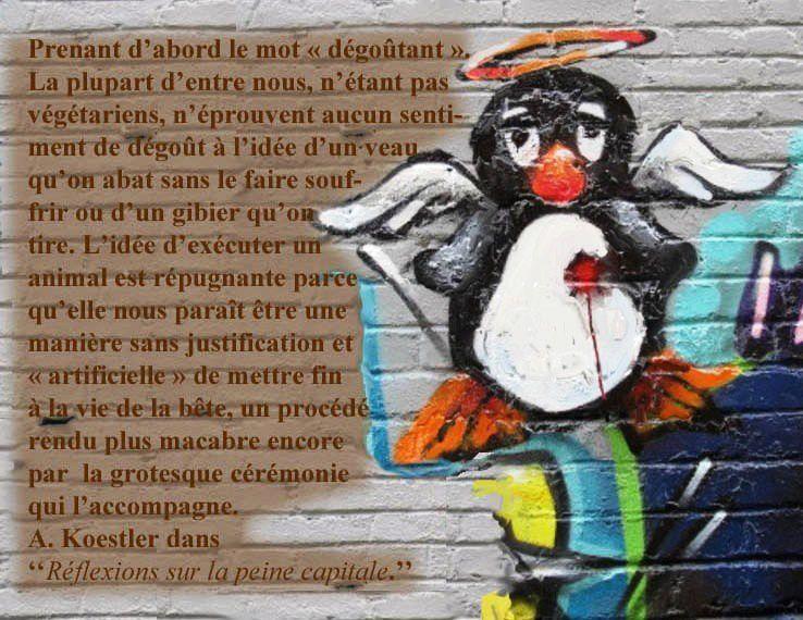 Tuer le pinguoin_Et sur le Végétarisme de l'écrivain Arthur Koestler_citation