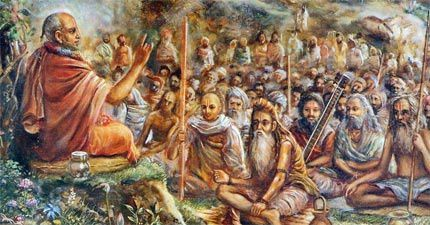 Suta Goswami dit aux sages assemblés dans la forêt de Naimisharanya (India)