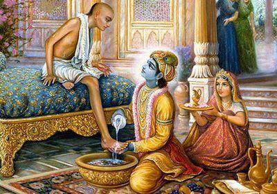 Krishna, de la classe des guerriers, lavant les pieds d'un brahmana, selon les règles de l'hospitalité et par respect.