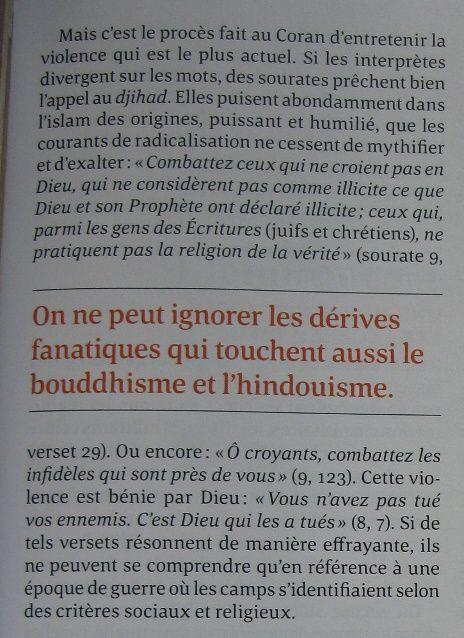Tuez-les tous, Le Monde des Religions- bouddshisme, islam, hindouisme-citation