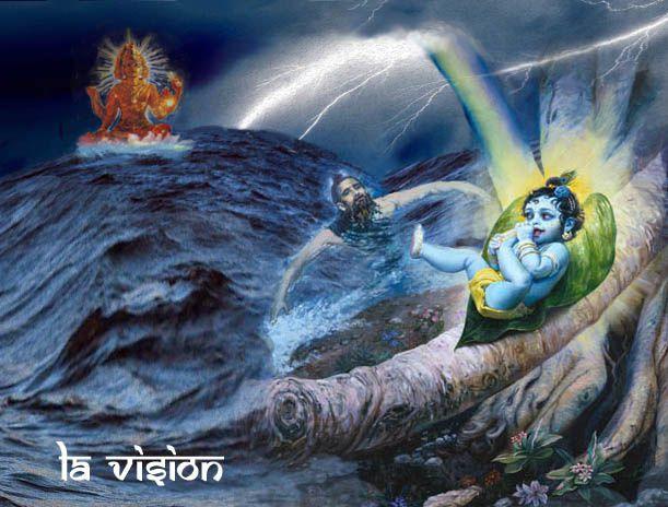 Markandeya, épuisé, voit l'enfant Krishna sur une feuille dans un arbre Banian