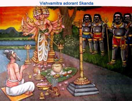 Vishvamitra muni adorant Skanda-Kartikeya