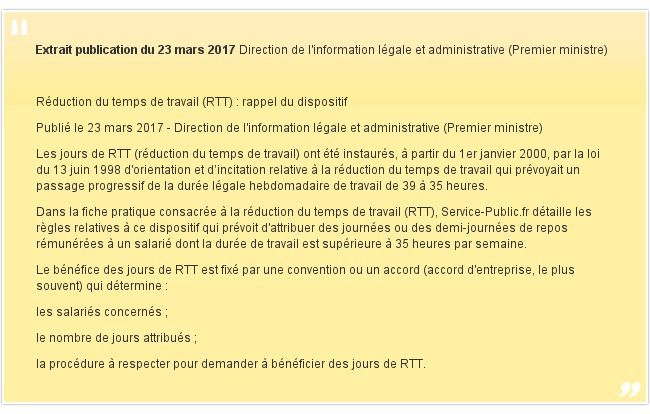 L Administration Rappelle Les Regles Concernant Le Dispositif Rtt