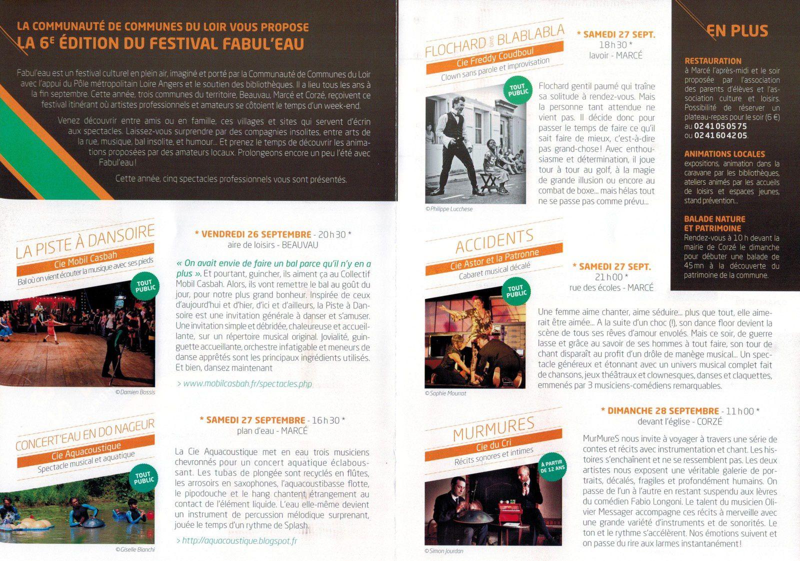 6ème édition du Festival Fabul'eau : 26, 27 et 28 septembre 2014