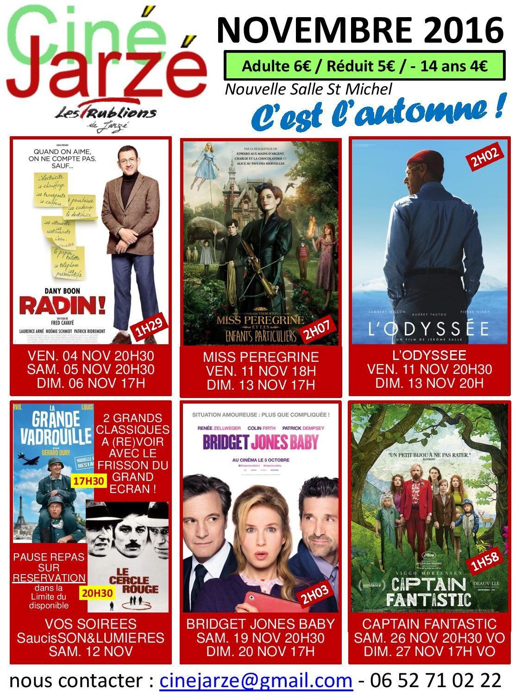 Programmation du cinéma de Jarzé pour le mois de novembre