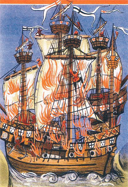 The French warship Cordelière and the English warship Regent ablaze at the battle of St. Mathieu on August 10 1512. Illustration for an epic poem in Latin written by the court poet Germain de Brie.