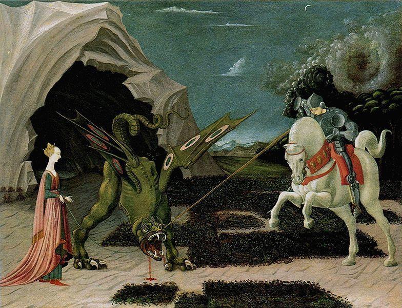 Vouivre représentée dans Saint Georges et le dragon de Paolo Ucello, 1450