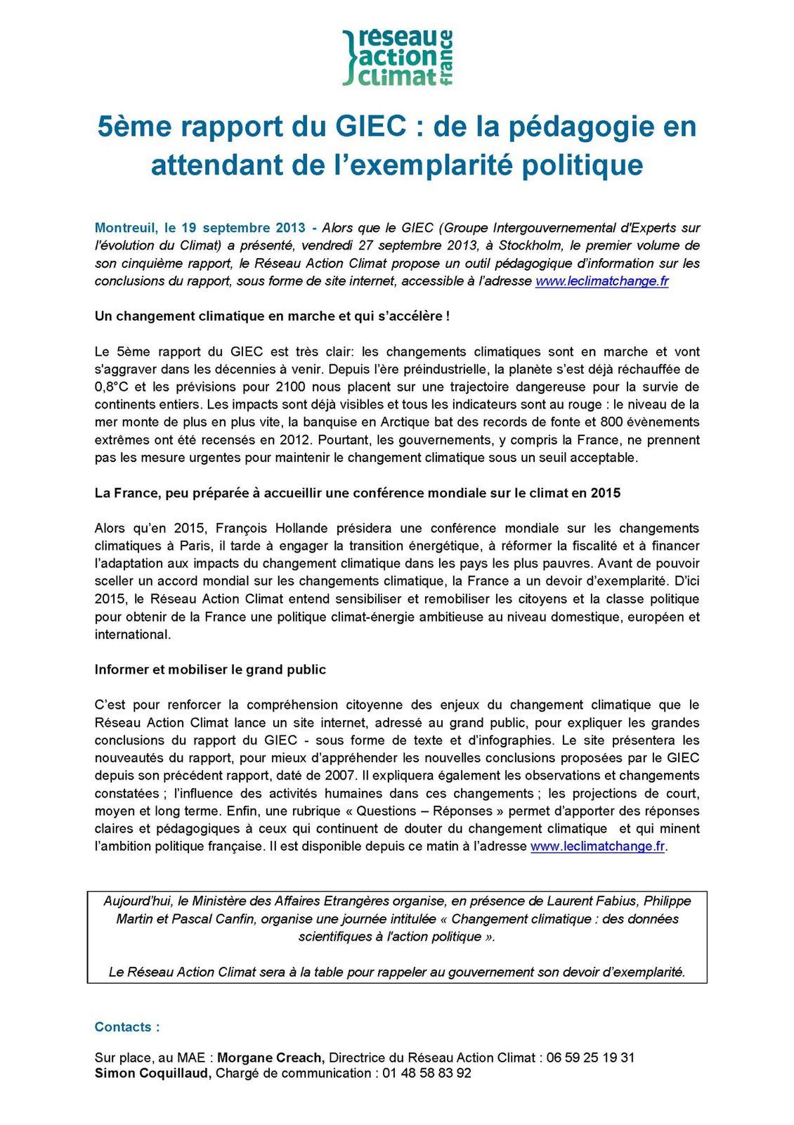 Conclusions du 5ème rapport du GIEC