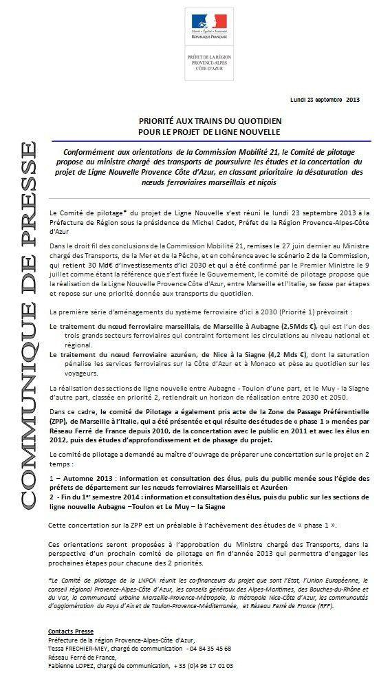 Comité de pilotage de la LN PCA : communiqué de presse de la Préfecture