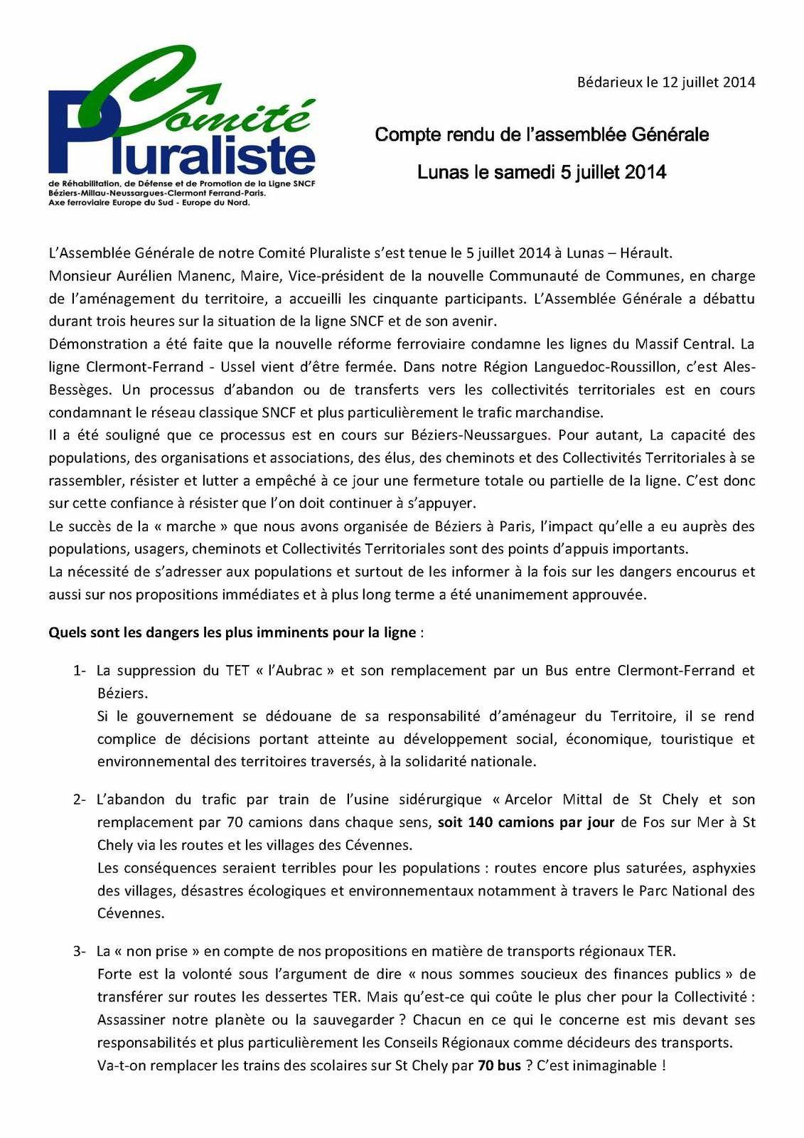 Campagne/action pour la ligne SNCF Beziers - Neussargues - Clermont-Ferrand